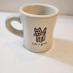 Life Is Good Coffee Mug Dog Graphic EUC